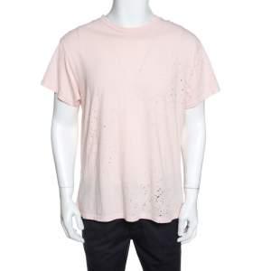 Amiri Pale Pink Distressed Cotton Shotgun T-Shirt M