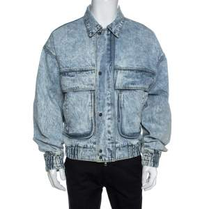 Amiri Blue Acid Washed Denim Zip Front Bomber Jacket S