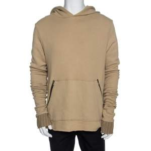 Amiri Beige Knit Raw Edged Detail Hooded Sweatshirt M