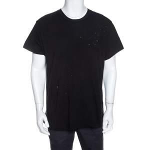 Amiri Black Distressed Cotton Shotgun T-Shirt M