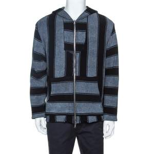 Amiri Bicolor Striped Terry Cotton Zip Front Baja Hoodie M