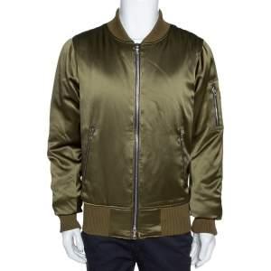 Amiri Olive Green Silk Bomber Jacket L