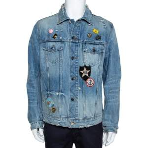 Amiri Blue Distressed Denim Pink Floyd Jacket XL