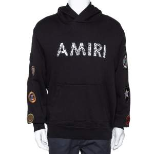Amiri Black Logo Print Cotton Mix Patch Hooded Sweatshirt M