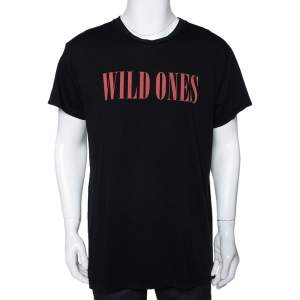 Amiri Black Cotton Wild Ones Print Round Neck T-Shirt S