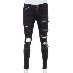 Amiri Black Denim Art Patch Distressed Skinny Jeans M