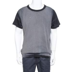 Amiri Black & Grey Cotton  Washed Out Effect Shotgun T Shirt S