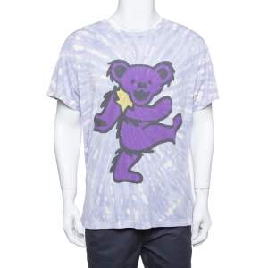 Amiri Purple Cotton Graphic Printed Tie Dye Effect Oversized T-shirt M