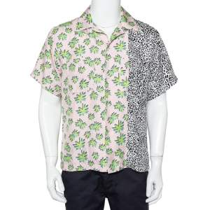 Amiri Multicolor Printed Silk Paneled Bowling Shirt M