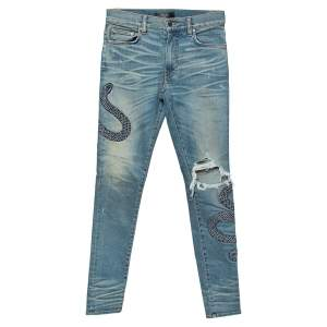Amiri Blue Light Wash Denim Snake Embroidery Detail Distressed Jeans S
