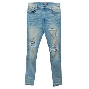 Amiri Blue Light Wash Denim Distressed Jeans S