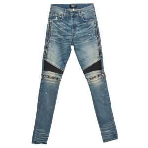 Amiri Blue Denim Muddy Effect Distressed Slim Fit Biker Jeans S