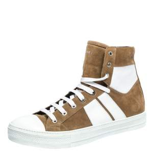 Amiri Tan/White Suede and Leather Sunset High Top Sneakers Size 42