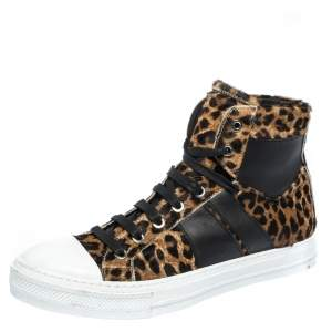 Amiri Brown/Black Leopard Print Calfhair and Leather Sunset High Top Sneakers Size 40