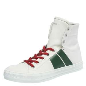 Amiri White/Green Canvas and Leather Sunset High Top Sneakers Size 42