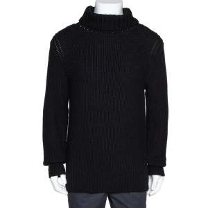 Ann Demeulemeester Black Alpaca Wool Knit Pepito Roll Neck Jumper M