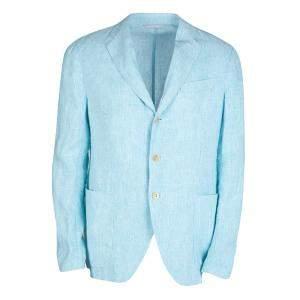 Armani Collezioni Blue Pinstriped Linen Blazer L