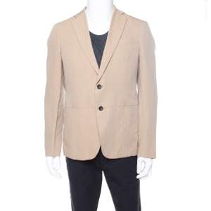 Armani Collezioni Beige Herringbone Linen Wool Tailored Blazer L