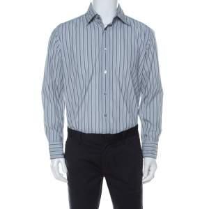 Armani Collezioni Grey Striped Cotton Blend Shirt M