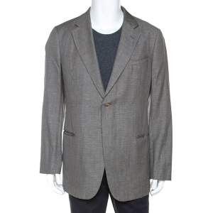 Armani Collezioni Grey Houndstooth Wool and Linen Blend Blazer XXL