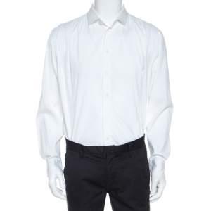 Armani Collezioni White Cotton Blend Button Front Shirt XXL