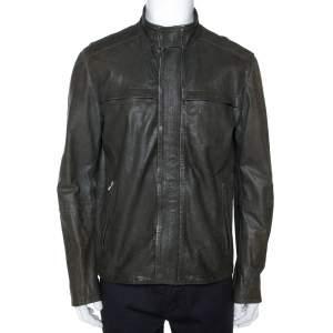 Armani Collezioni Dark Green Nappa Leather Jacket XL