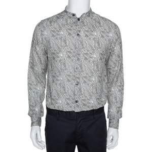 Armani Collezioni Beige Optical Leaf Print Linen Button Front Shirt M
