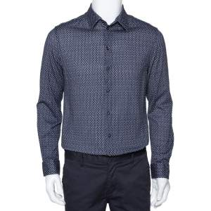 Armani Collezioni Navy Blue Printed Cotton Knit Long Sleeve Shirt L