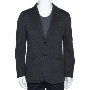 Armani Collezioni Grey Twill Two Buttoned Jacket M