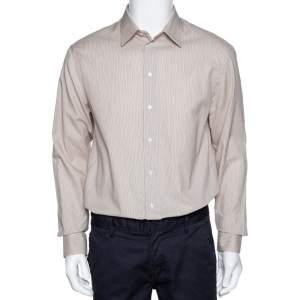 Armani Collezioni Beige Striped Cotton Blend Button Front Shirt L