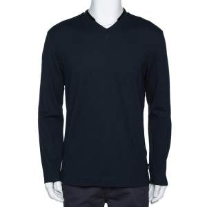 Armani Collezioni Midnight Blue Cotton Pique Long Sleeve T Shirt XL