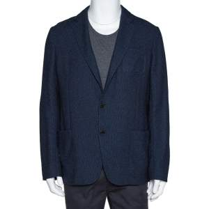 Armani Collezioni Navy Blue Textured Wool Blend Jacket XL