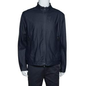 Armani Collezioni Navy Blue Water Repellent Zip Front Jacket XXL