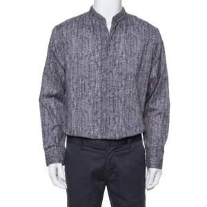 Armani Collezioni Grey Texture Print Cotton Button Front Shirt XL