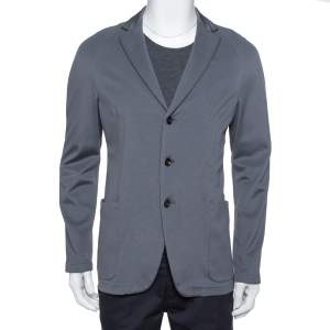 Armani Collezioni Grey Pique Knit Three Button Blazer L