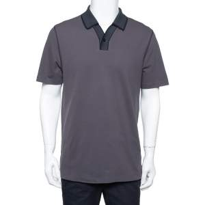 Armani Collezioni Dark Grey Cotton Contrast Collar Detail Polo T-Shirt XXL