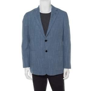 جاكيت بليزر أرماني كوليزيوني صوف أزرق وقطن بأزرار أمامية مقاس متوسط - ميديوم