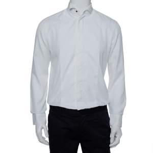 قميص توكسيدو أرماني كوليزيوني قطن أبيض وحرير بياقة مقاس كبير - لارج