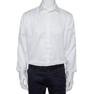 قميص أرماني كالزوني مكسم مودرن أزرار أمامية تويلي قطن أبيض مقاس كبير جداً