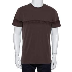 Armani Collezioni Brown Textured Soft Cotton Logo Stripe Printed Crewneck T-Shirt XXL