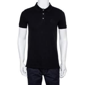 Armani Collezioni Black Cotton Pique Logo Embroidered Polo T-Shirt L