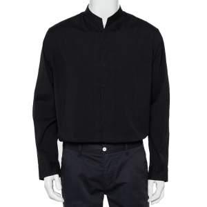 Armani Collezioni Black Cotton Stand Collar Shirt XL