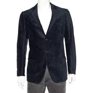 Armani Collezioni Navy Blue Patterned Velour Button Front Blazer M