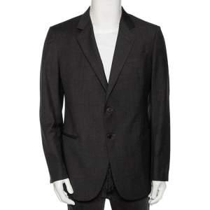 Armani Collezioni Charcoal Grey Striped Wool Button Front Blazer XL