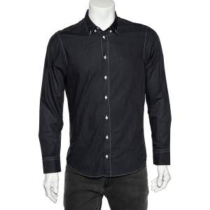 Armani Collezioni Charcoal Grey Washed Cotton Button Front Shirt M