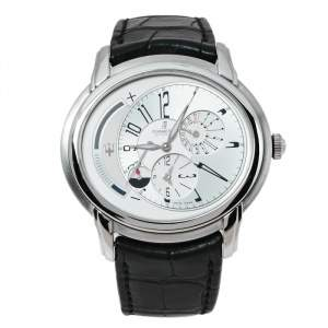 Audemars Piguet Silver White Stainless Steel Leather Millenary Limited Edition Maseratti Anniversary 90 Men's Wristwatch 47 mm