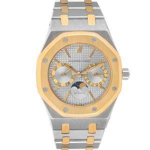 Audemars Piguet Silver 18K Yellow Gold And Stainless Steel Royal Oak Moonphase 25594 Men's Wristwatch 36 MM