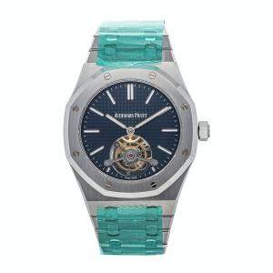 Audemars Piguet Blue Stainless Steel Royal Oak Tourbillon 26510ST.OO.1220ST.01 Men's Wristwatch 41 MM