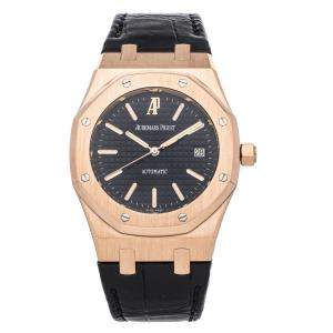 Audemars Piguet Black 18K Rose Gold Royal Oak 15300OR.OO.D002CR.01 Men's Wristwatch 39 MM