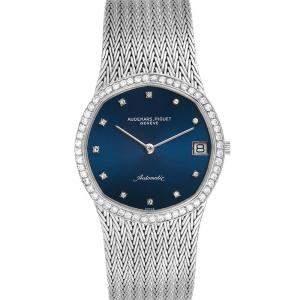 Audemars Piguet Blue Diamonds 18K White Gold Vintage Men's Wristwatch  32 MM